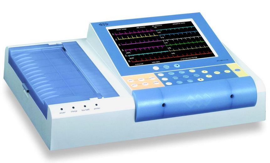 "Elettrocardiografo a 12 canali con display a colori touch screen 8.4"" e stampa su carta A5"